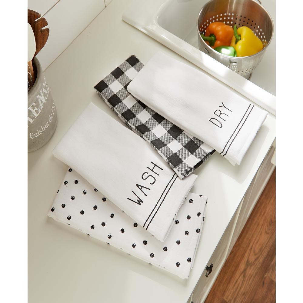 Farmhouse Living Sentiments Black/White Kitchen Towels (Set of 4)