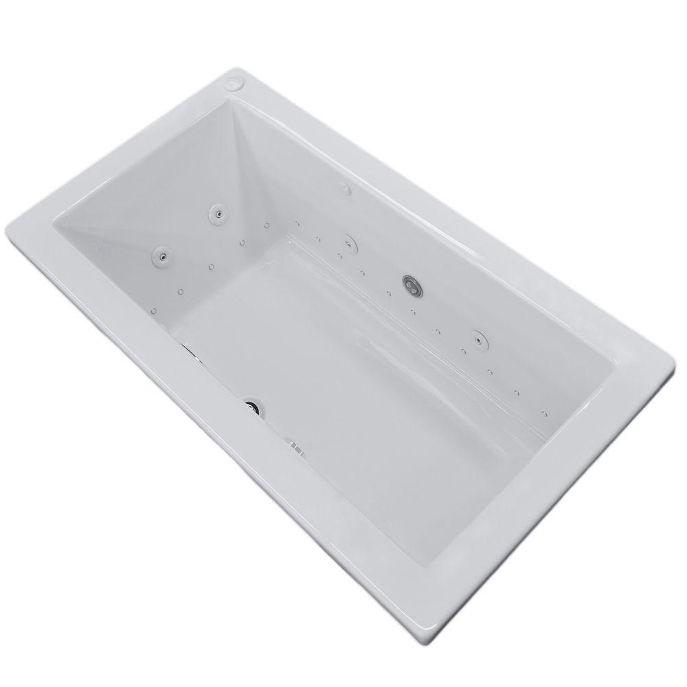 Sapphire Diamond Series 6 ft. Center Drain Rectangular Drop-in Whirlpool and Air Bath Tub in White
