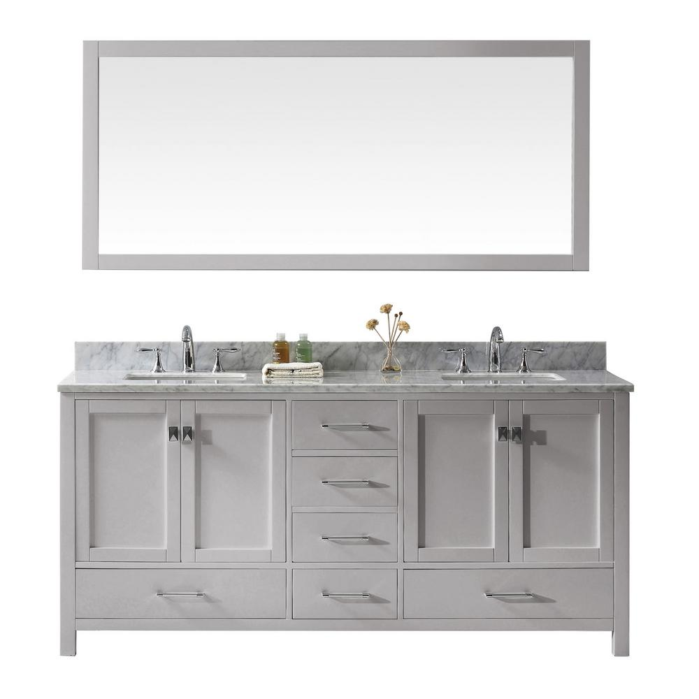 Virtu USA Caroline Avenue 72 in. W Bath Vanity in Cashmere Gray with Marble Vanity Top in White with Square Basin and Mirror