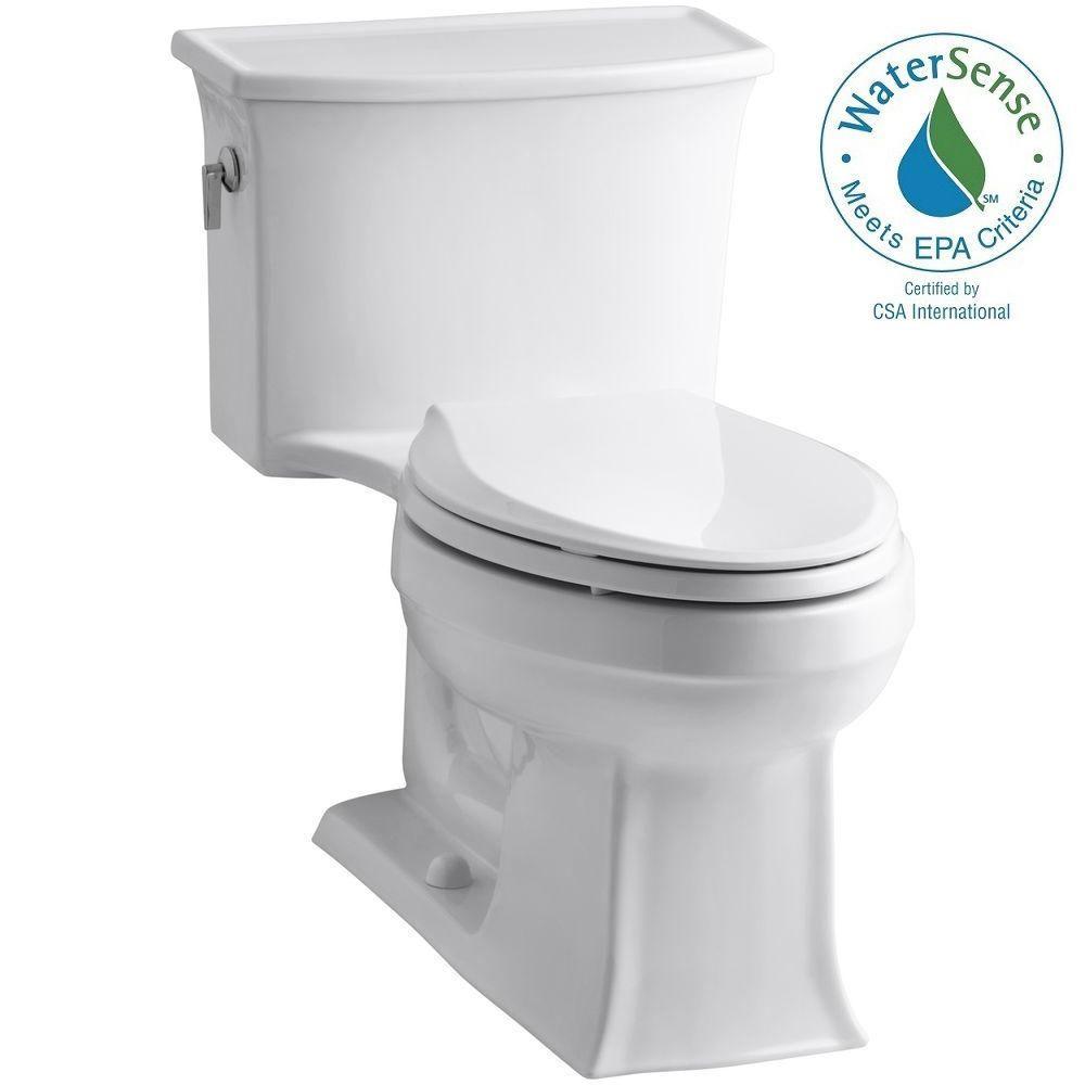 KOHLER Archer 1-piece 1.28 GPF Single Flush Elongated Toilet in White