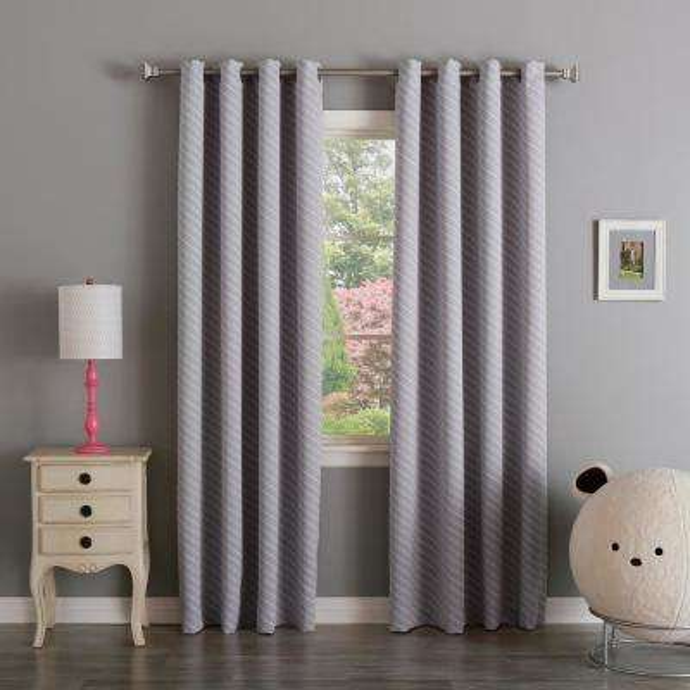96 in. L Room Darkening Diagonal Stripe Curtain Panel in Lilac (2-Pack)