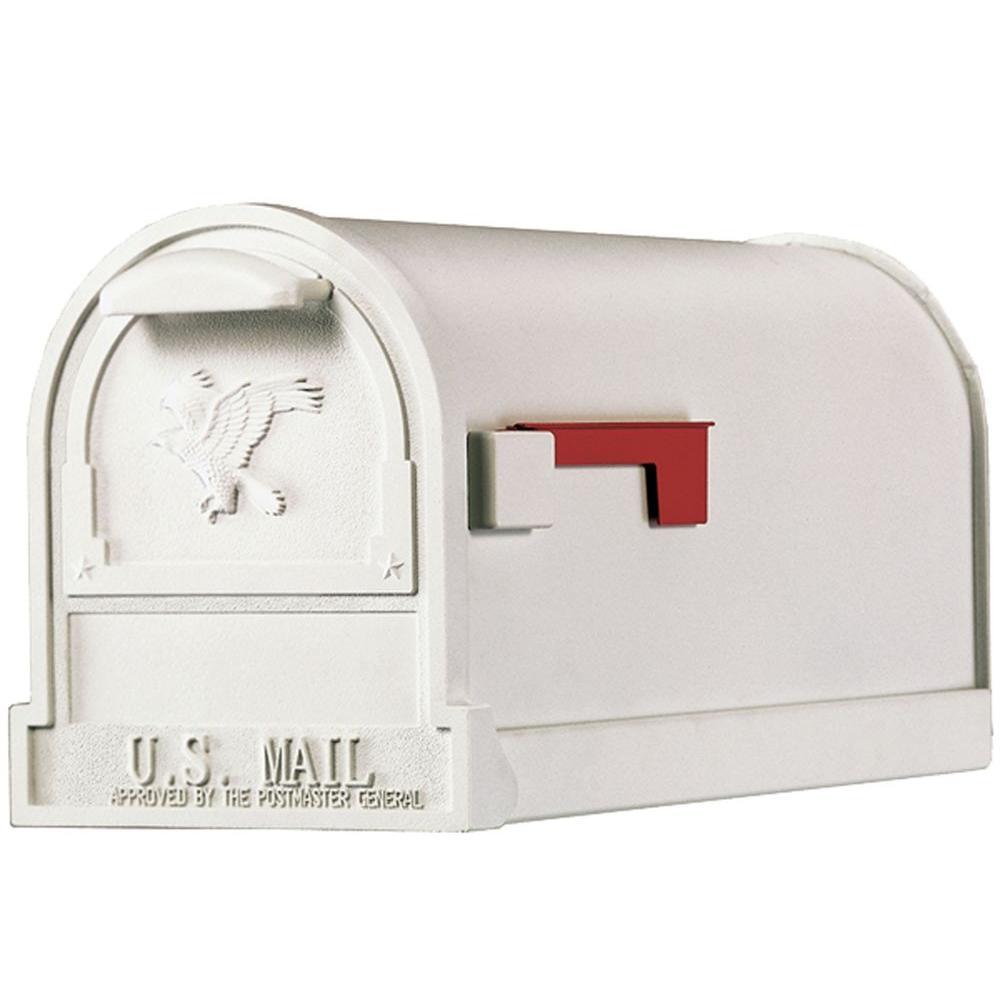 Arlington Premium White Steel Post-Mount Mailbox