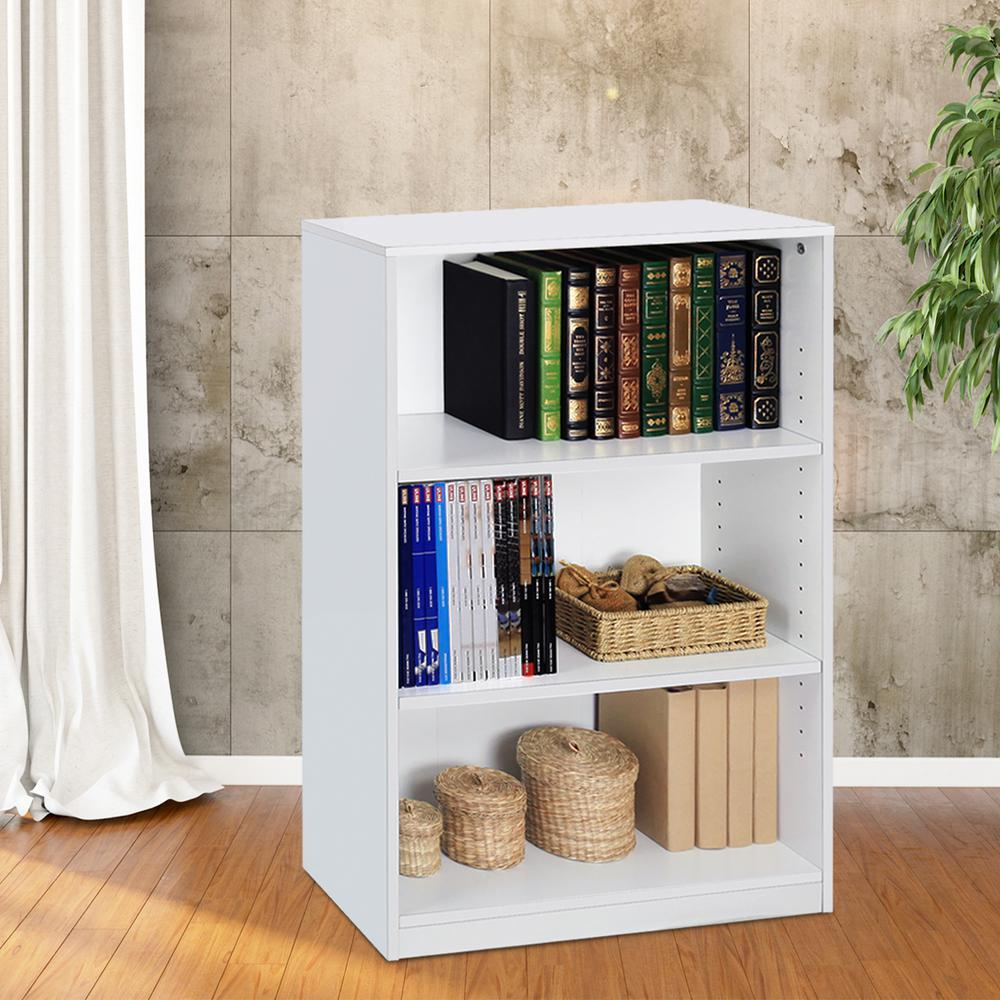 Furinno JAYA 3-Shelf White Open Bookcase