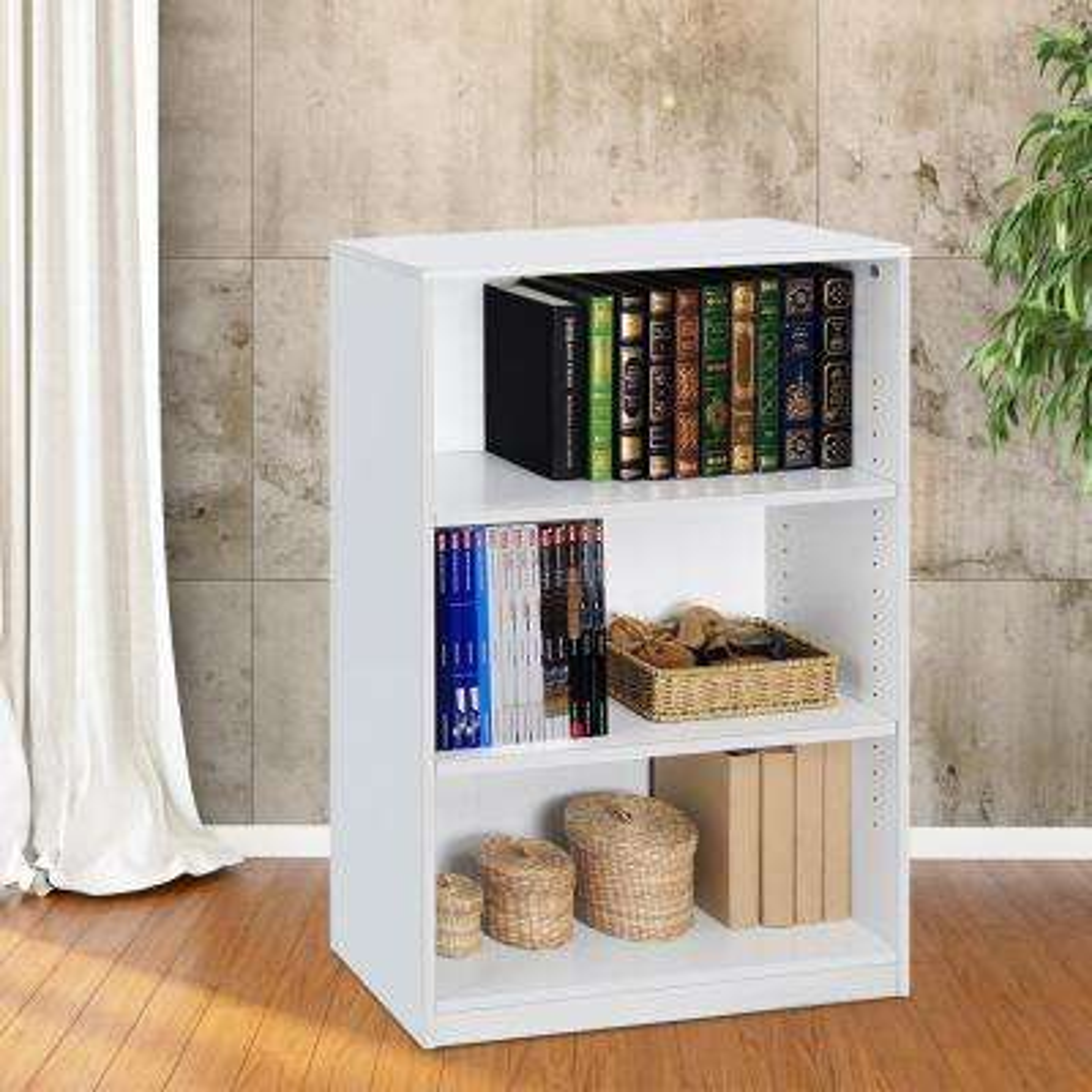 JAYA 3-Shelf White Open Bookcase