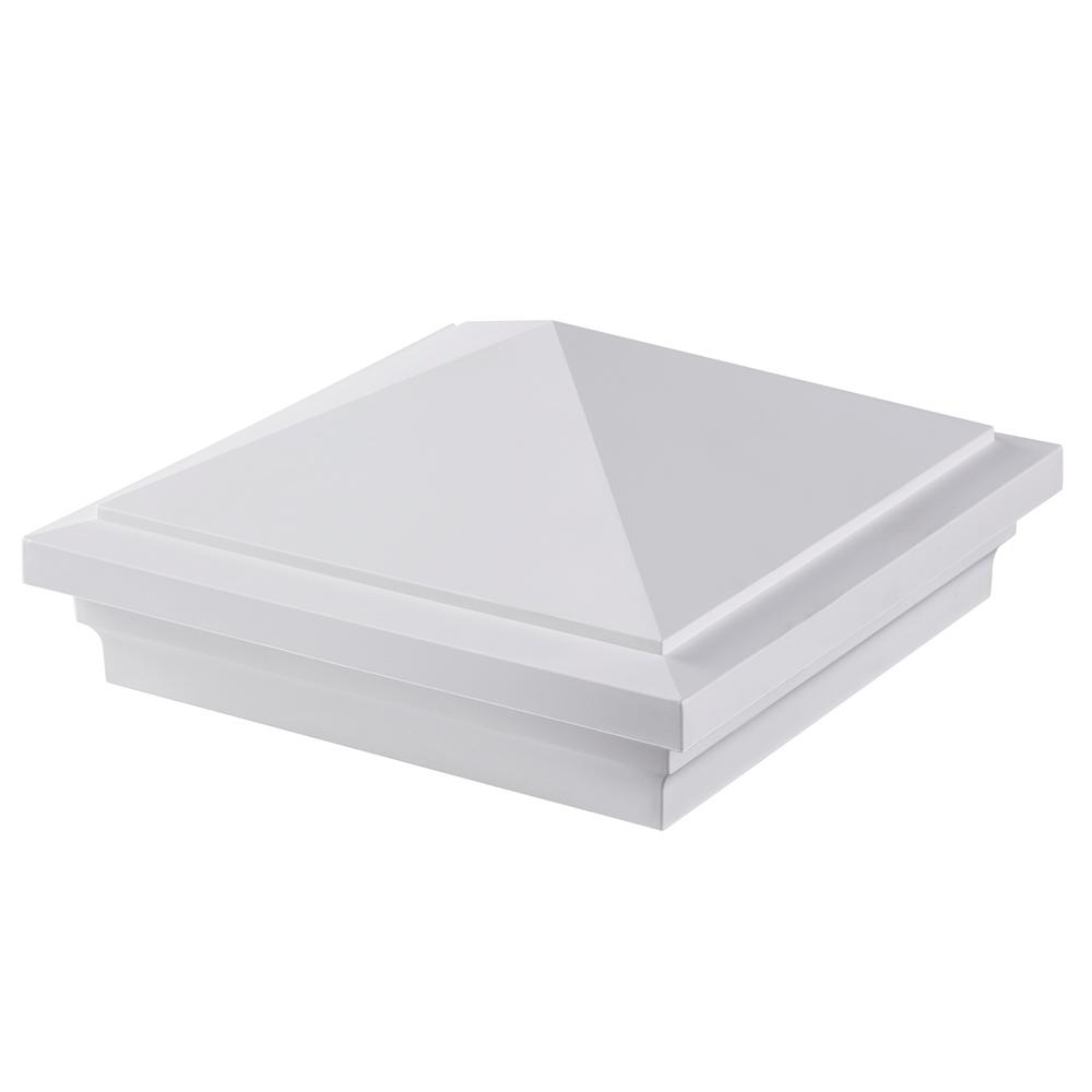Symmetry 5 in. x 5 in. Tranquil White PVC Pyramid Cap, Wh...
