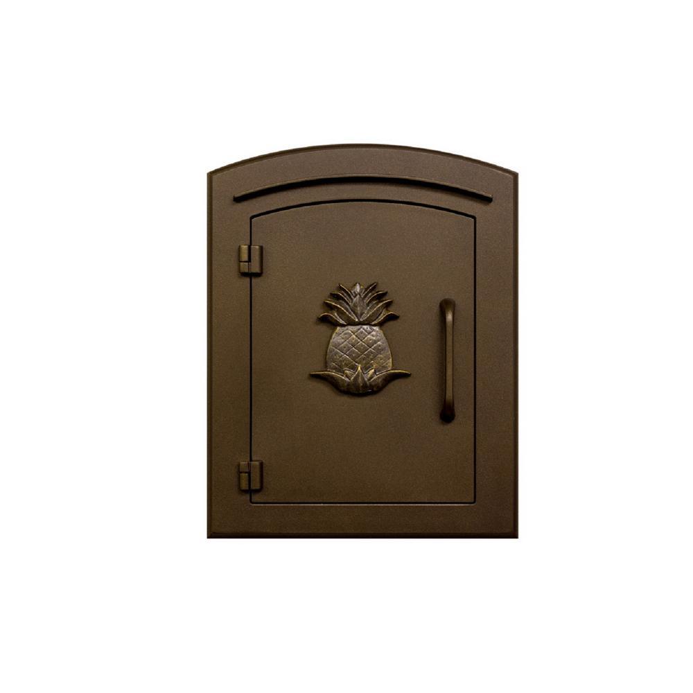 Manchester Bronze Column Mount Non-Locking Mailbox with Decorative Pineapple Logo