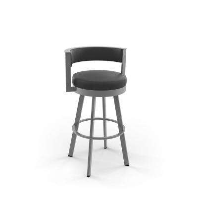 Browser 26 in. Black Faux Leather / Glossy Grey Metal Swivel Counter Stool