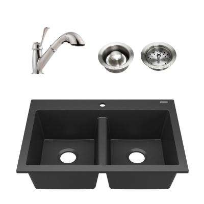 Whitney All-in-1 Drop-in Granite Composite 33 in. 1-Hole 50/50 Double Bowl Kitchen Sink with Faucet in Matte Black