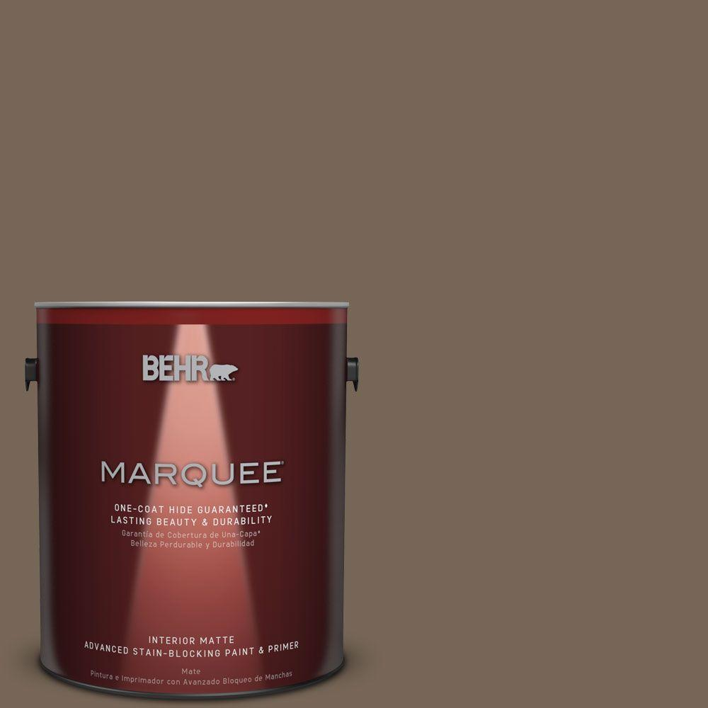 1 gal. #N220-6 Landmark Brown One-Coat Hide Matte Interior Paint