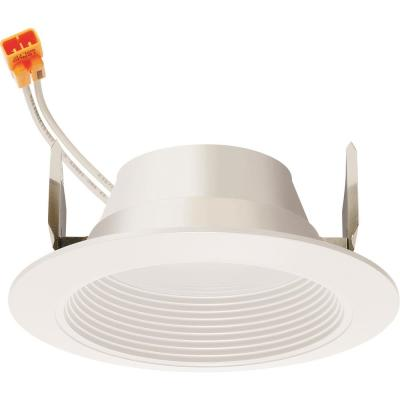 Contractor Select Basics Series 4 in. 2700K Warm White Integrated 600 Lumen LED Recessed Retrofit Baffle Trim