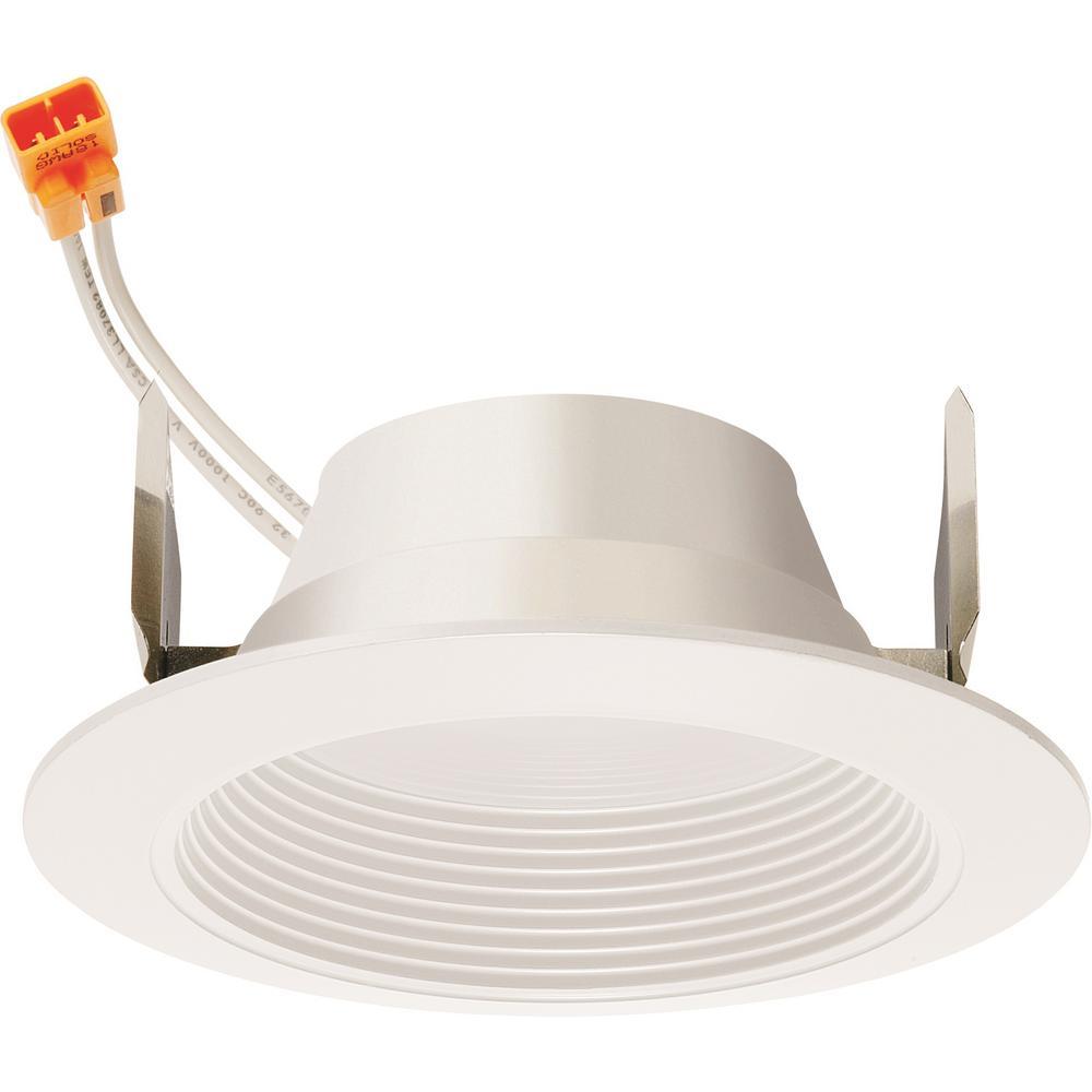 10-Watt 4 in. 600-Lumens 2700K 90CRI White Integrated LED Recessed Trim