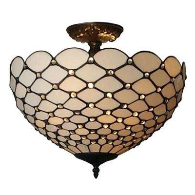 2-Light Tiffany Style Jewel Semi Flush Mount