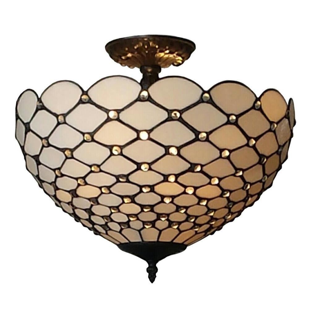 2-Light Tiffany Style Jewel Semi Flush Mount