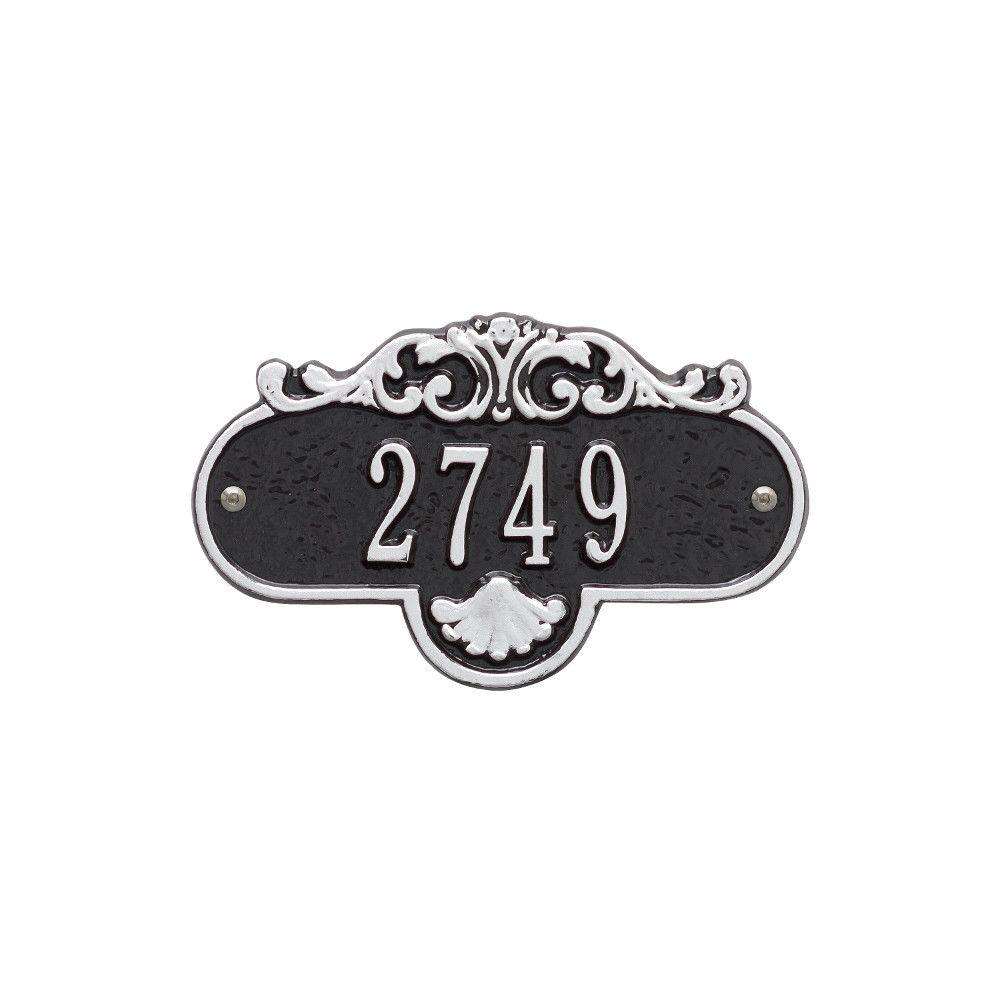 Whitehall Products Oval Rochelle Petite Black/Silver Wall 1-Line Address Plaque