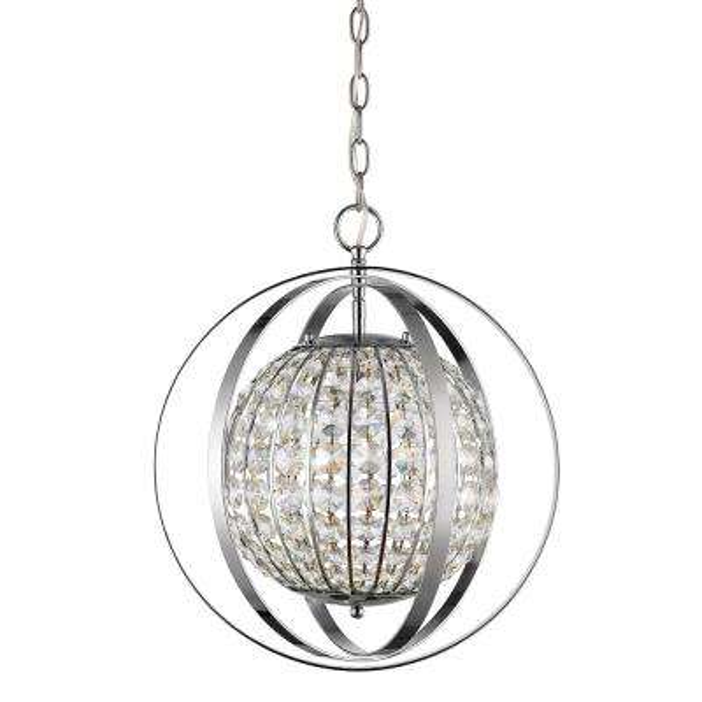 Olivia 1-Light Polished Nickel Indoor Pendant with Crystal