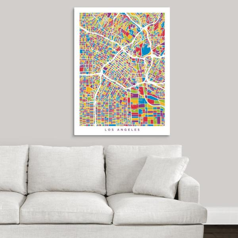 Greatcanvas Los Angeles City Street Map Multicolor By Michael Tompsett Canvas