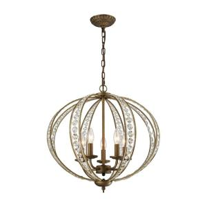 elizabethan 5light dark bronze chandelier with metal and crystal shade