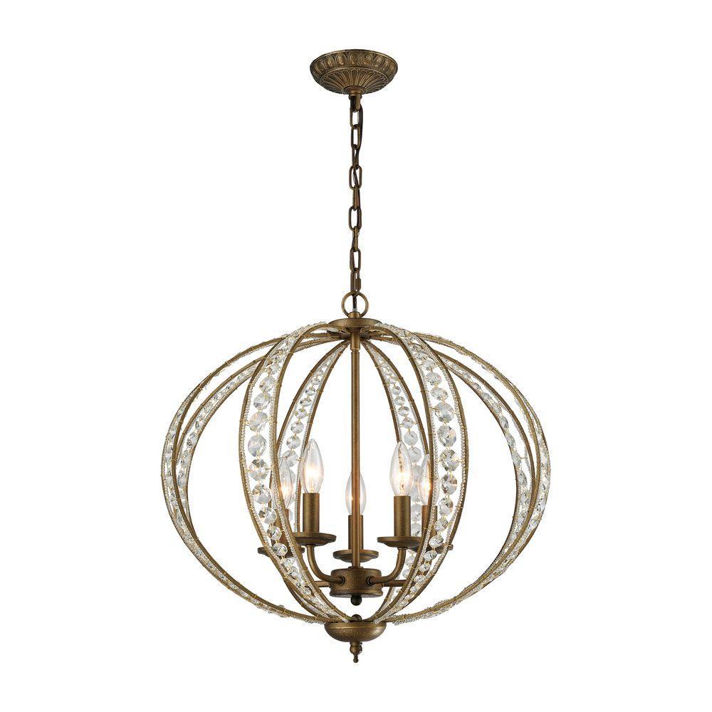Elizabethan 5-Light Dark Bronze Chandelier With Metal And Crystal Shade