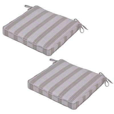 Black Stripe Outdoor Seat Cushion (2-Pack)