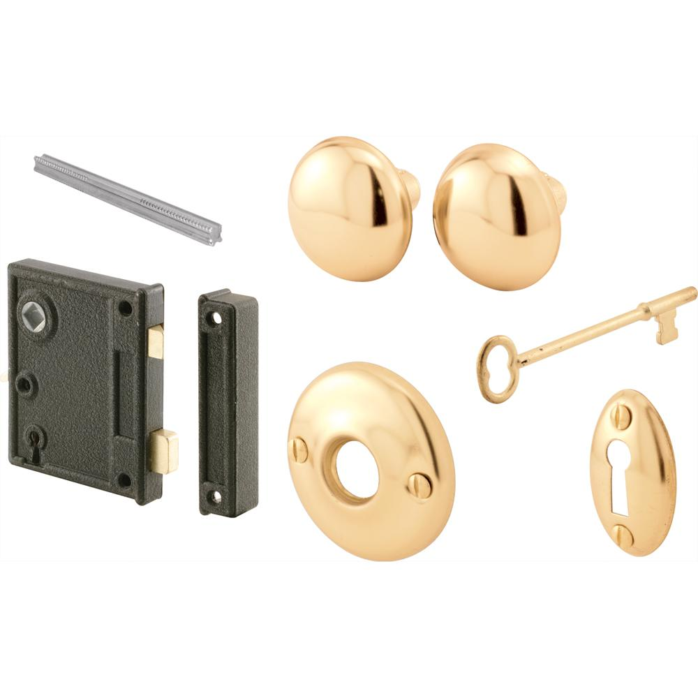 Prime-Line  Bright Brass  Steel  Mortise Lockset  Grade 1  1-3//4 in.