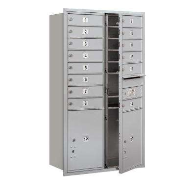 48 in. H x 31-1/8 in. W Aluminum Front Loading 4C Horizontal Mailbox with 14 MB1 Doors/2 PL5's