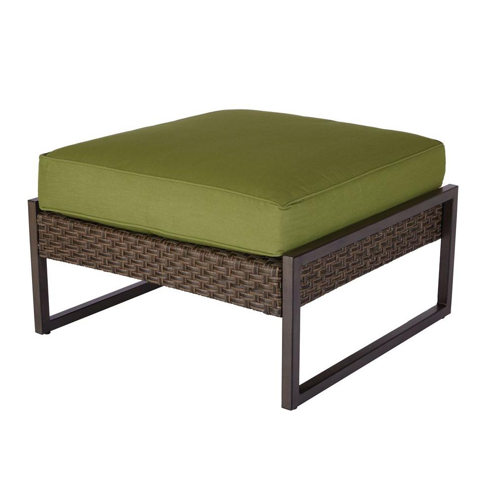 Carol Stream Patio Ottoman/Coffee Table with Spectrum Cilantro Cushion