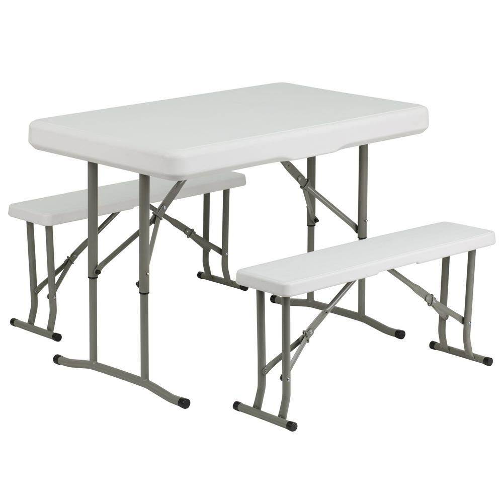 Groovy 41 In Granite White Plastic Tabletop Plastic Seat Folding Table And Bench Set Unemploymentrelief Wooden Chair Designs For Living Room Unemploymentrelieforg