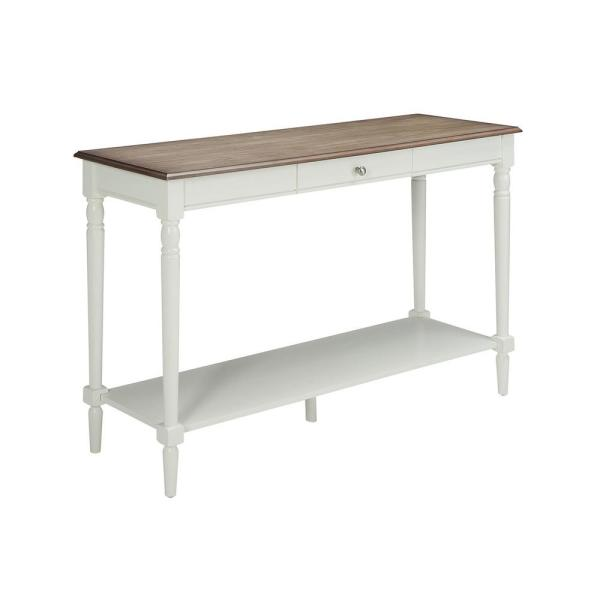 French Country Driftwood and White Console Table