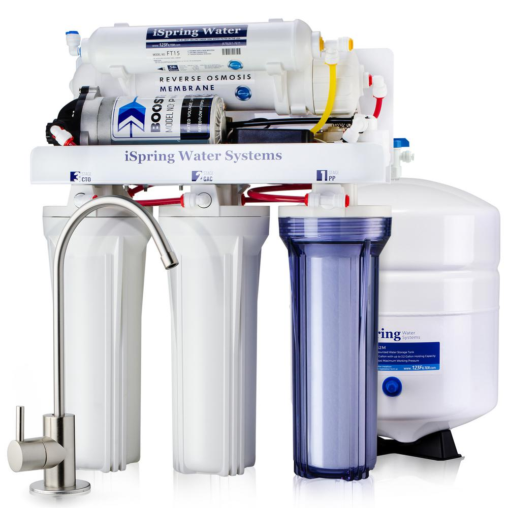 ISPRING Maximum Performance Under Sink Reverse Osmosis Drinking Water  Filtration System with Booster Pump