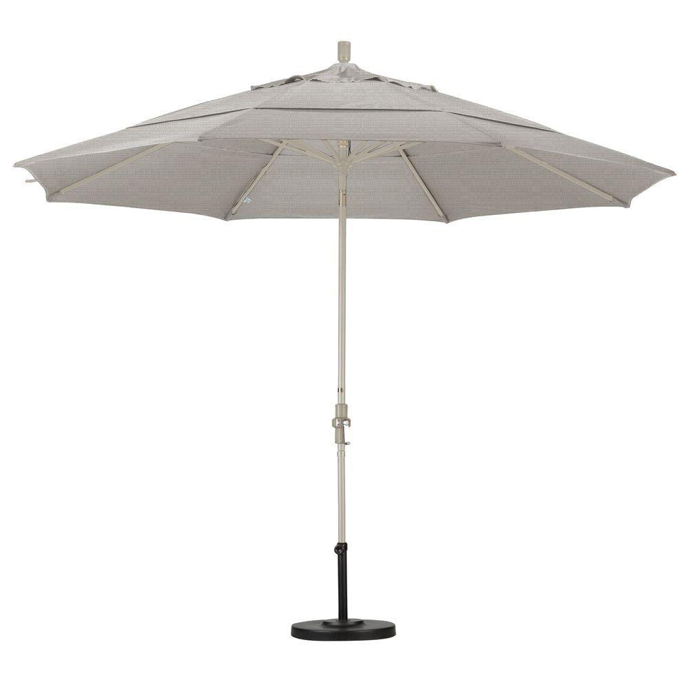 California Umbrella 11 Ft Fibergl Collar Tilt Double Vented Patio In Granite Olefin
