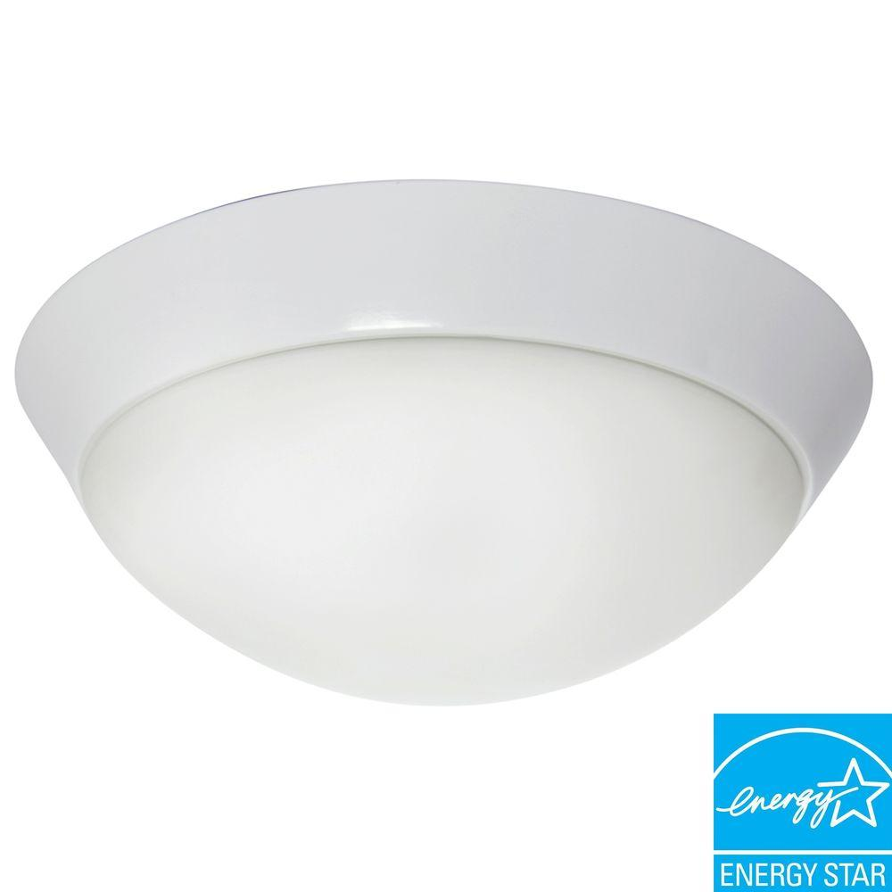 Efficient Lighting Contemporary Flush Mount in Powder Coated White Finish with Bulbs-DISCONTINUED