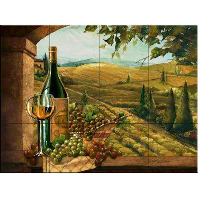 Vineyard Window II 24 in. x 18 in. Ceramic Mural Wall Tile