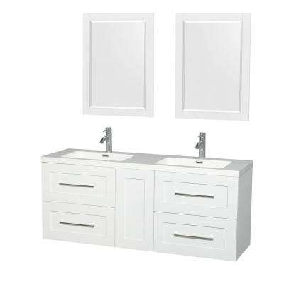 Olivia 60 in. W x 19 in. D Vanity in Glossy White with Acrylic Vanity Top in White with White Basins and 24 in. Mirrors