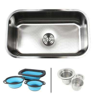 Undermount 16-Gauge Stainless Steel 30 in. Single Bowl Kitchen Sink in Sharp Satin Finish with Collapsible Colanders