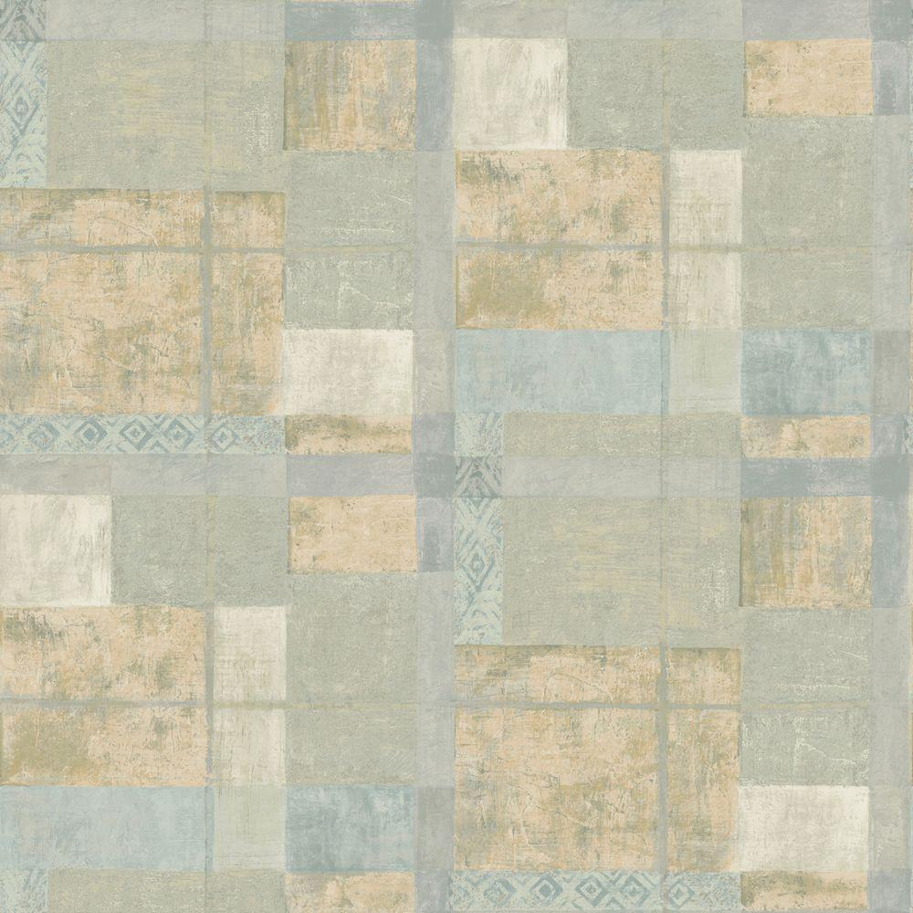 The Wallpaper Company 8 in. x 10 in. Blue and Beige Ethnic Plaid Wallpaper Sample