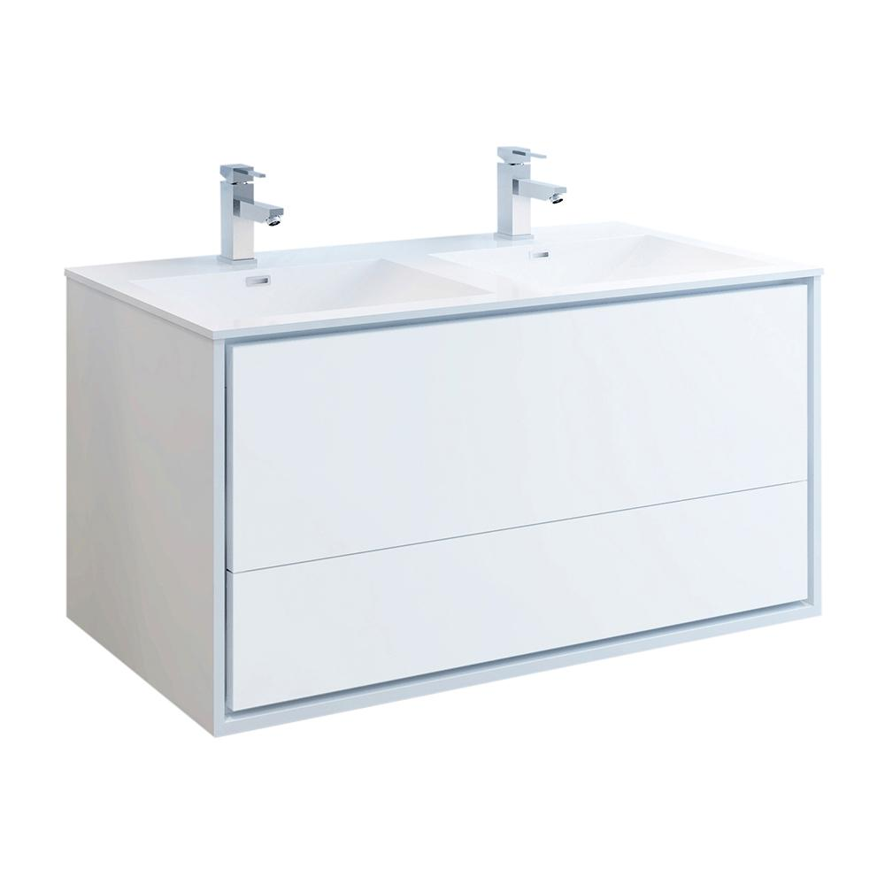 Fresca Catania 48 in. Modern Double Wall Hung Bath Vanity in Glossy White, Vanity Top in White with White Basins