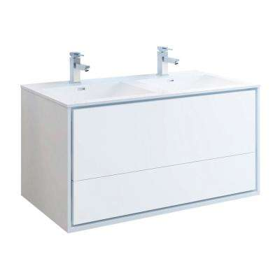 Catania 48 in. Modern Double Wall Hung Bath Vanity in Glossy White, Vanity Top in White with White Basins