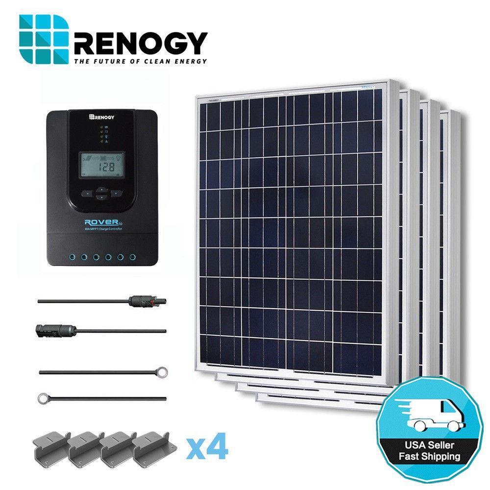 400-Watt 12-Volt Polycrystalline Off-Grid Solar Starter Kit for Solar System with MPPT Charge Controller