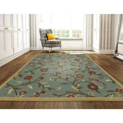 Ottohome Collection Floral Garden Design Sage Green 8 ft. x 10 ft. Non-Skid Area Rug