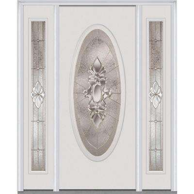 60 in. x 80 in. Heirloom Master Left-Hand Large Oval Classic Painted Fiberglass Smooth Prehung Front Door