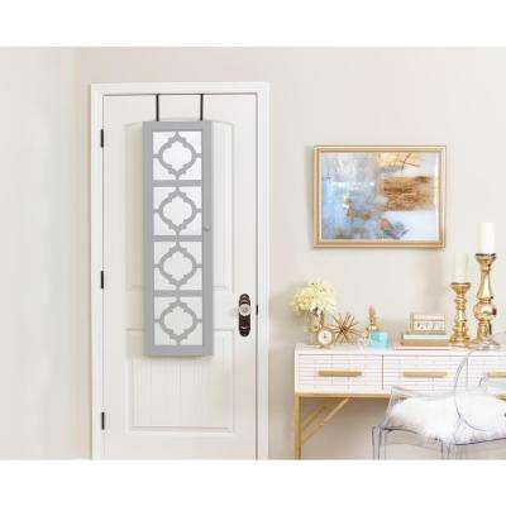 Designer Jewelry Armoire with Decorative Mirror - Gray