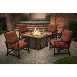 Maris 3 Piece Aluminum Patio Fire Pit Conversation Set With Red Cushions