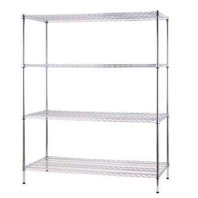 60 in. W x 72 in. H 24 in. D All Purpose Heavy Duty 4-Tier Wire Shelving, Chrome