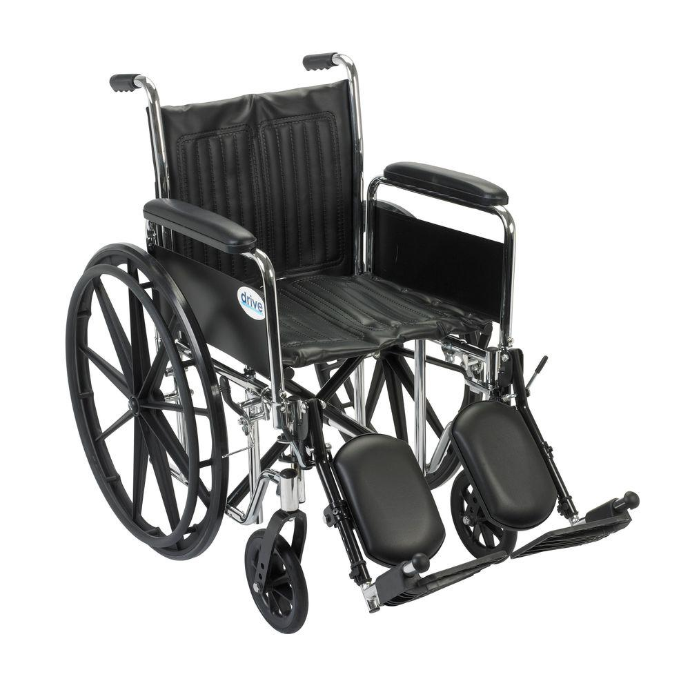 Drive Chrome Sport Wheelchair with Detachable Full Arms and Elevating Leg Rests