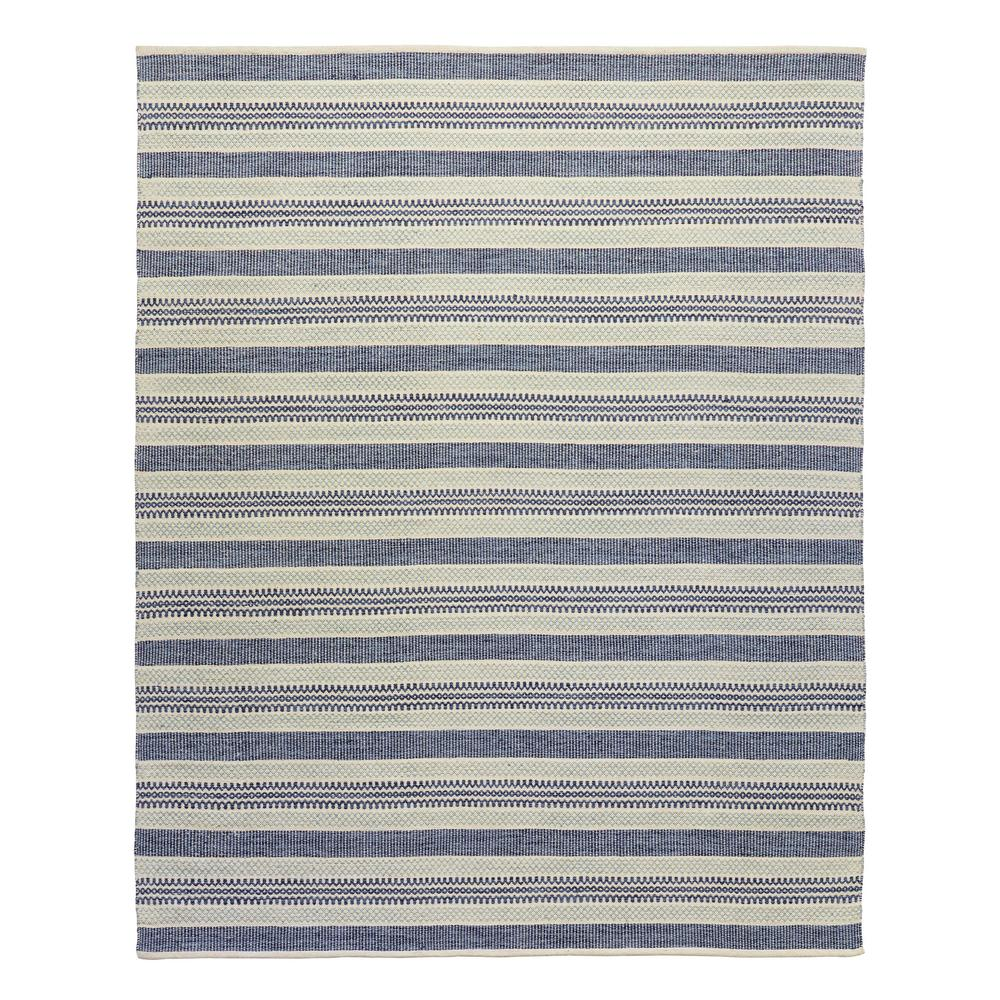 Stylewell Oakdale Blue Beige 8 Ft X 10 Ft Wool Cotton Striped Area Rug Ept0010736 A The Home Depot
