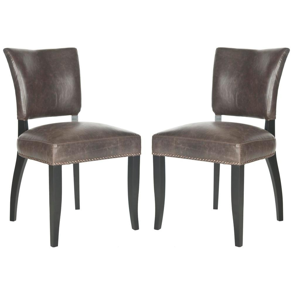 Desa Antique Brown and Black Bicast Leather Side Chair (Set of