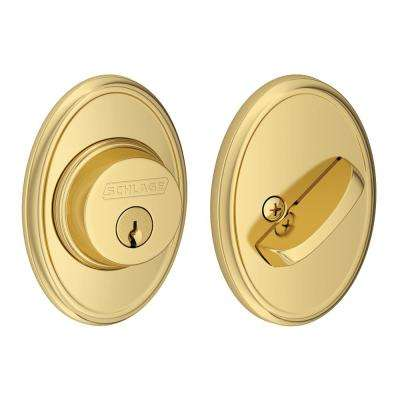 Single Cylinder Bright Brass Deadbolt with Wakefield Trim
