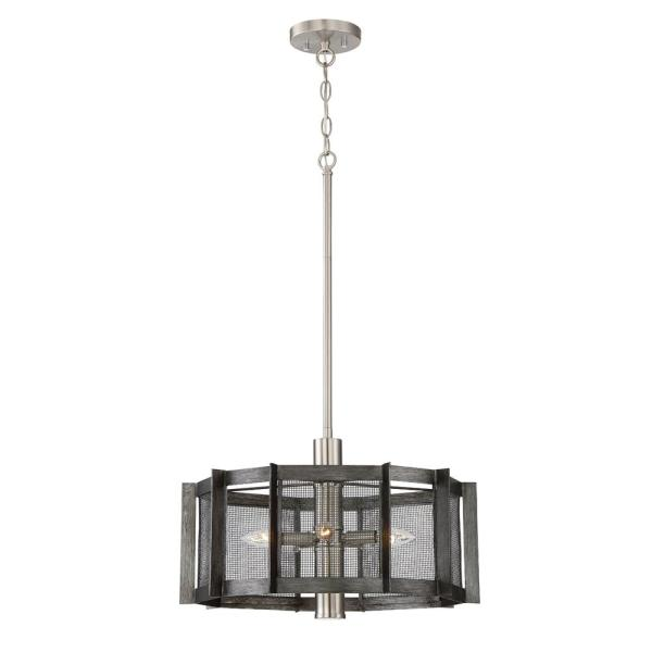 Baxter 5-Light Weathered Iron Chandelier with Steel Mesh Shade