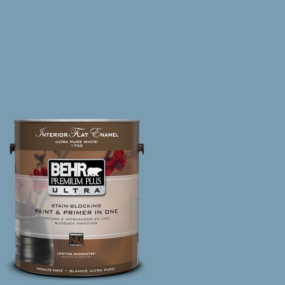 BEHR Premium Plus Ultra 1-Gal. #UL230-17 Blue Cascade Interior Flat Enamel Paint