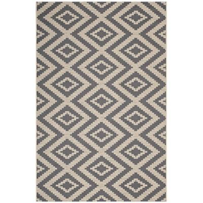 Jagged in Gray and Beige 8 ft. x 10 ft. Geometric Diamond Trellis Indoor and Outdoor Area Rug